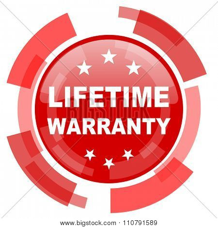 lifetime warranty red glossy web icon
