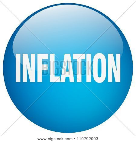 Inflation Blue Round Gel Isolated Push Button