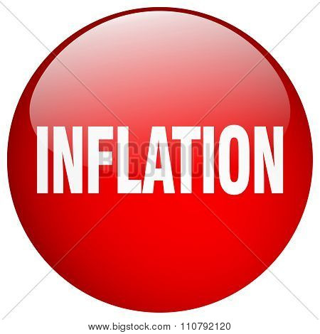 Inflation Red Round Gel Isolated Push Button