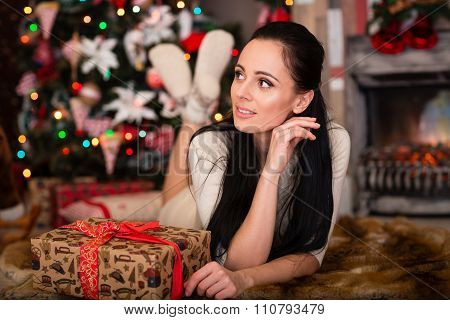 Young  Woman With Gift. Christmas.