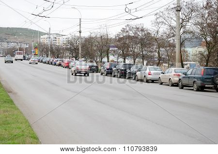 Queue Of Cars At The Gas Station In Kerch