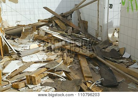 Debris of a decaying building