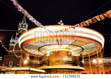 Merry-go-round Carousel On Red Square On Moscow