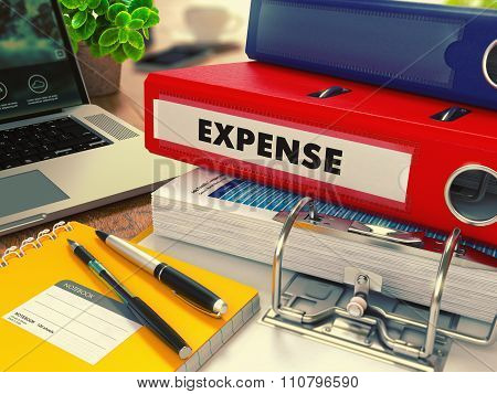Red Office Folder with Inscription Expense.