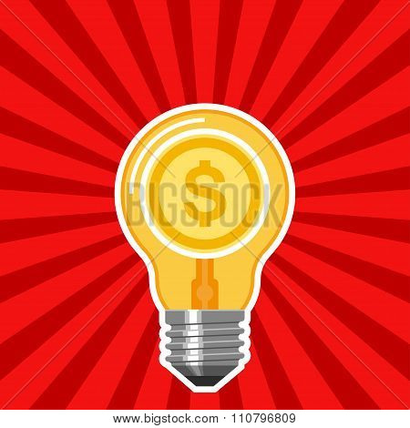 Business concept with light bulb and red rays