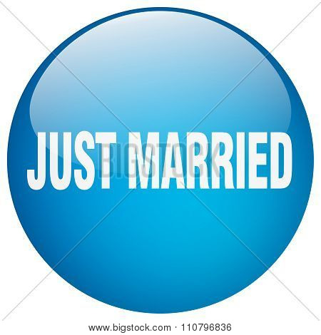 Just Married Blue Round Gel Isolated Push Button