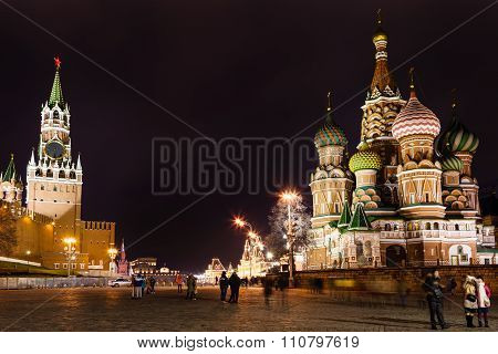 Tourists On Vasilevsky Descent In Moscow In Night