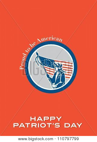 Patriots Day Greeting Card American Patriot Soldier Flag Circle