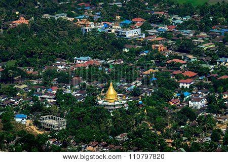 Hpa An City With Gabar Lone Buddhist Pagoda. Myanmar (burma)