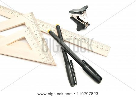 Staple Remover, Pens And Ruler