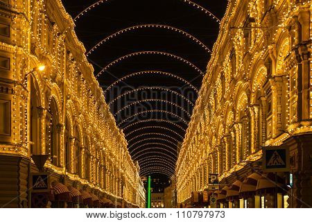Night Illumination Of Gum Store In Moscow