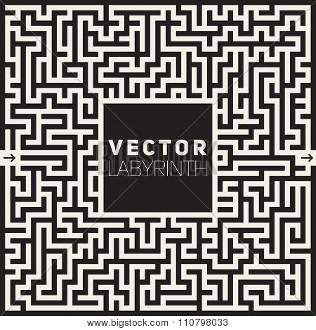 Vector Labyrinth Black And White Maze Frame Background