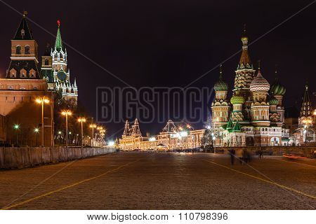Tower And Cathedral On Vasilevsky Descent In Night