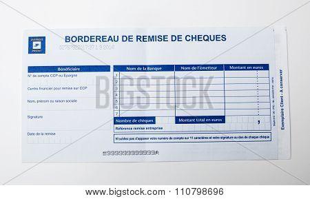 Bordereau De Remise De Cheques