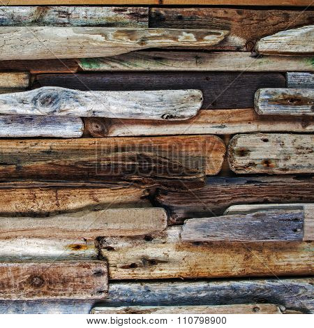 Driftwood, Wooden Planks, Square Background Texture.