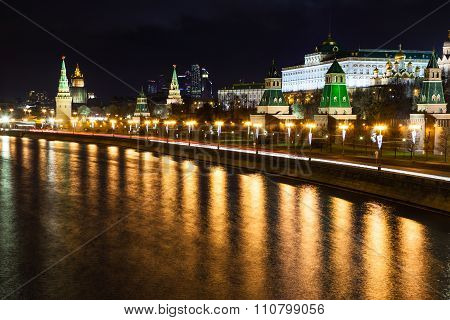 Night Cityscape With Kremlin In Moscow