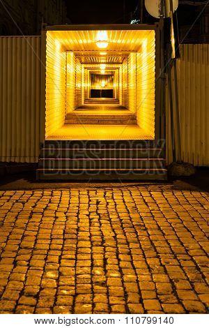 Illuminated Pedestrian Crossing In Night