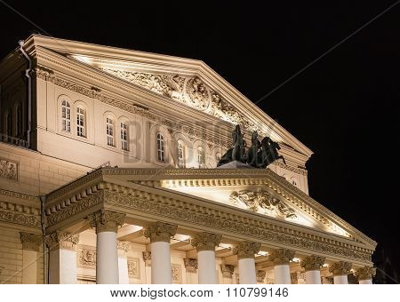 Building Of Bolshoi Theatre In Moscow In Night