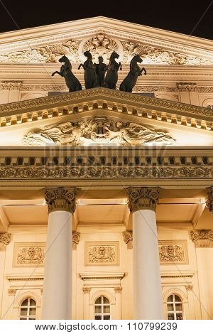 Facade Of Bolshoi Theatre In Moscow In Night