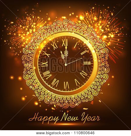 Creative floral decorated clock, showing almost Twelve 'O' Clock on fireworks background for Happy New Year celebration.