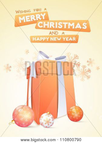 Snowflakes decorated Flyer, Banner or Pamphlet with glossy gift and Xmas Balls for Merry Christmas and Happy New Year celebrations.