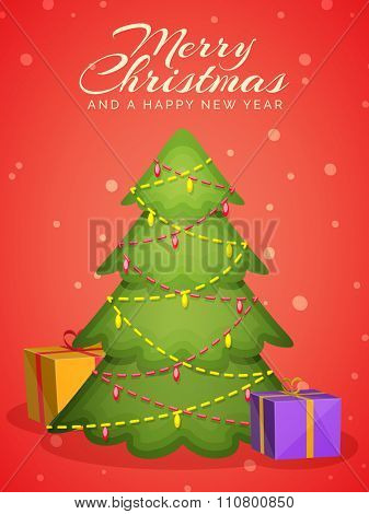 Flyer, Banner or Pamphlet with creative Xmas Tree and colorful gifts for Merry Christmas and Happy New Year celebrations.
