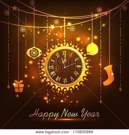 Creative golden clock showing almost Twelve 'O' Clock with other hanging ornaments for Happy New Year celebration.