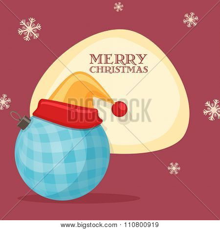 Greeting card design with Santa cap on Xmas Ball for Merry Christmas celebration.