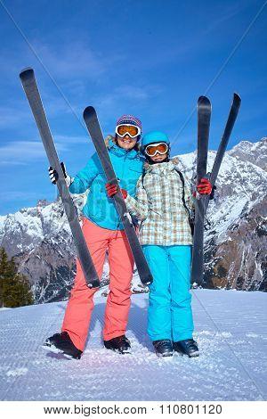 Skiers enjoying winter vacations