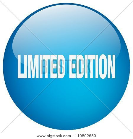 Limited Edition Blue Round Gel Isolated Push Button