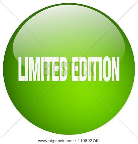 Limited Edition Green Round Gel Isolated Push Button