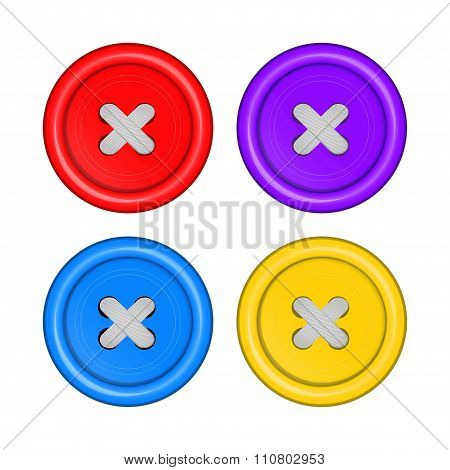 sewing buttons set vector red, purple, blue, and yellow with white sewing thread