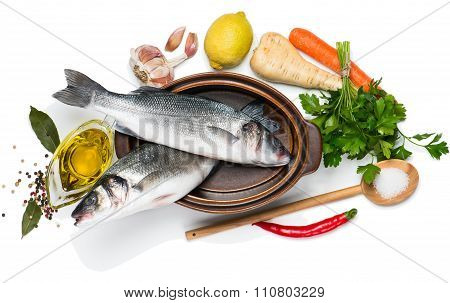Preparing To Cook Sea Bass Fishes, View From Above