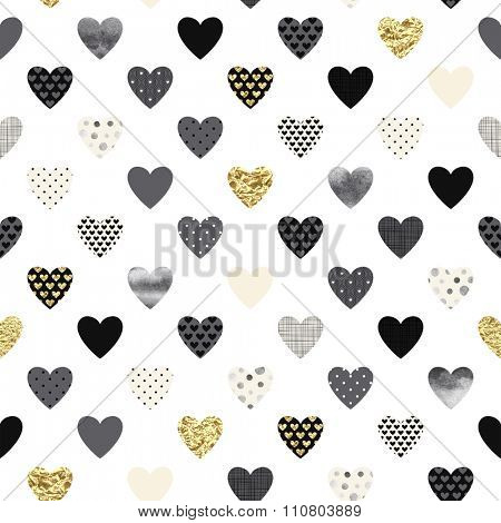Seamless lovely pattern with golden, watercolor and texture hearts on white background.
