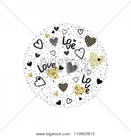 Round love banner of randomly distributed confetti and texture hearts, decor for Valentine's Day.