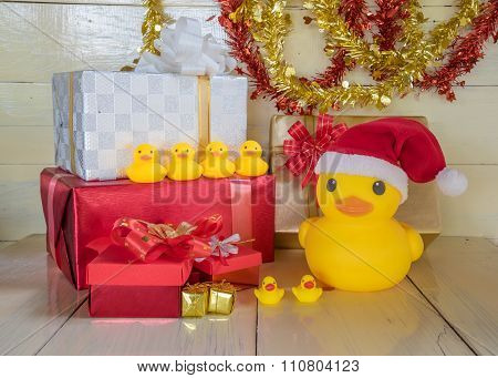 Christmas Concept, Rubber Yellow Duck Wear  Santa Clause Hat