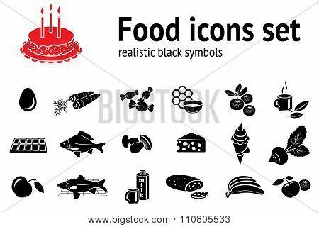Food icon set. Fish sweets mushrooms honey tea cake icecream fruit vegetables egg milk cheese carrot