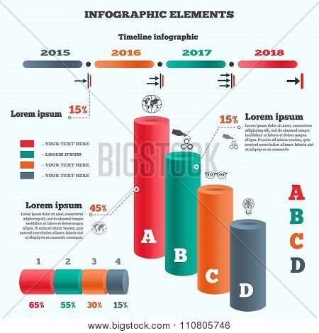 Infographics elements. Columns chart with icons and shadow. Business banner of four options. Cylinde