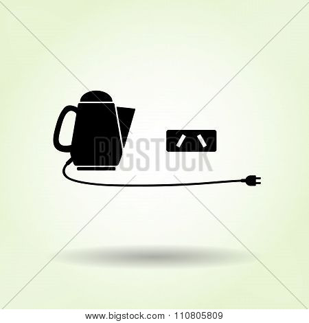 Home electric kettle with two-pin plug. Australian, Argentina socket base icon. Kitchen equipment. V