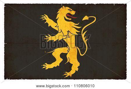 Grunge Flag Of Ceredigion (wales)
