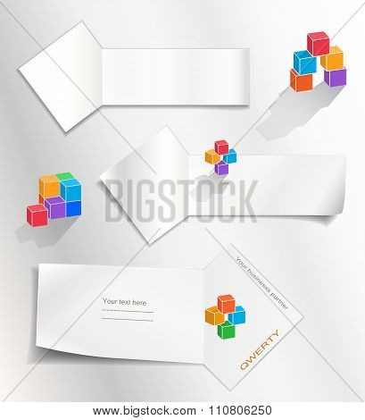 Paper banners set. Cube logo. Perspective view. Note labels for your text. Arrow view ribbon. Statio