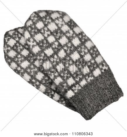 Gray Mitten Pair Isolated, Grey White Textured Woolen Mittens Pattern, Knitted Warm Winter Wool