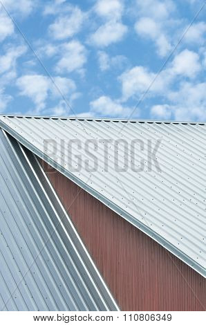 Industrial Building Roof Sheets Grey Steel Rooftop Pattern, Bright Summer Clouds Cloudscape Blue Sky