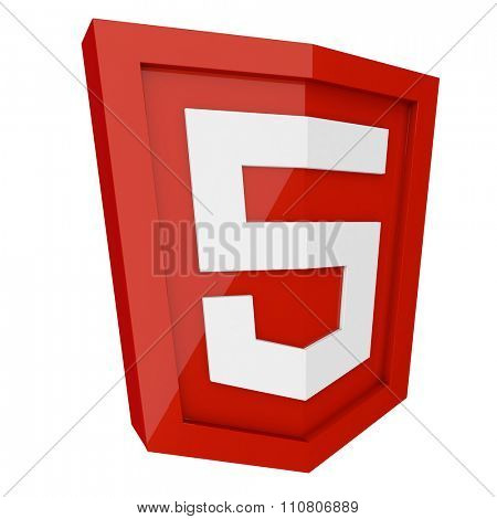 HTML 5 3D red sign isolated on white background.