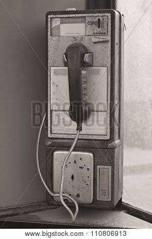 Vintage Pay Phone - Old Pay Telephone With Coin Slot IV