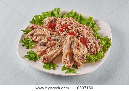 Chicken Wings With Buckwheat