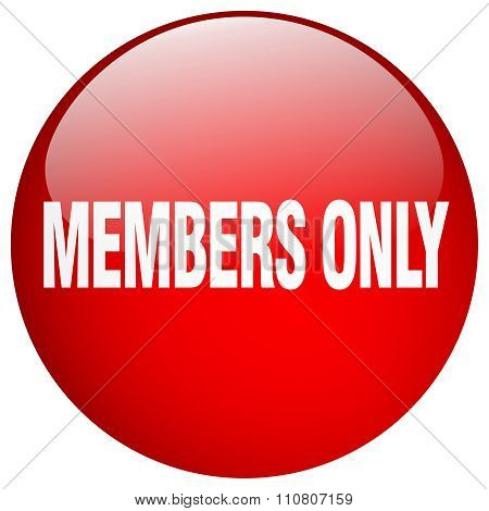 Members Only Red Round Gel Isolated Push Button