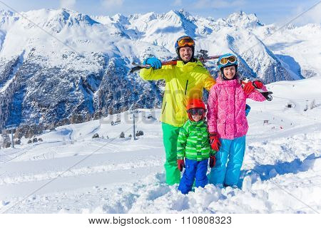 Happy family on ski