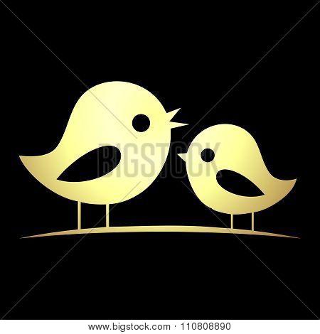 Vector birds singing on tree silhouette