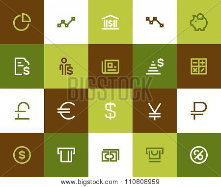 Finance and bank icons. Flat series